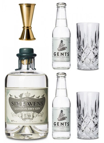 Six Ravens Gold Gin Set